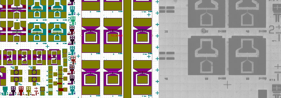 High Electron Mobility Transistor (HEMT) device - layout (left), die in process (right)