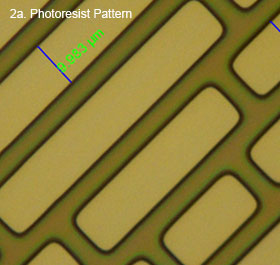 Image 2a - Top view of a photoresist pattern showing decreasingly sized rectangles