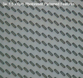 Image 3a - Top view of an array of rectangles (pillar tops) 1.5 x 6µm photoresist patterned features