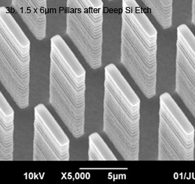 Image 3b - Oblique SEM view of 1.5 x 6µm pillars after deep Si etch